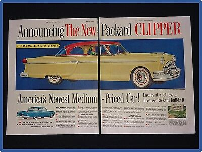 February 20, 1954 Packard Car Ad ~ 2 Page ~ Clipper Panama Hardtop