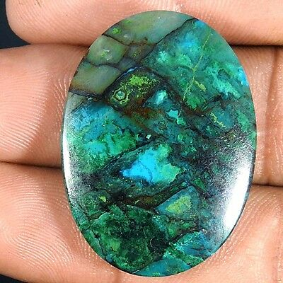 32.10Cts 100% NATURAL GREEN CHRYSOCOLLA OVAL CABOCHON UNTREATED AAA GEMSTONE