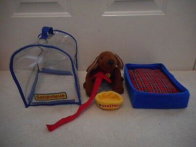 Madeline's Dog Genevieve Plush Dog Carrier Bed Doll Learning Curve Jointed Legs