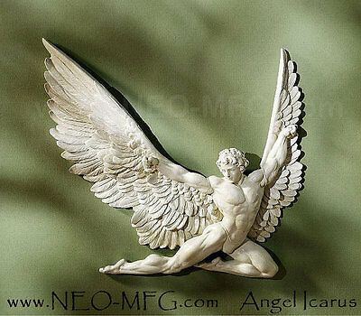 Greek Mythological Icarus male wall angel Sculpture 11in home decor