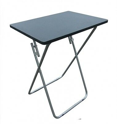 Folding Occasional Black TV Table Tea Coffee Bed Side With Metal Leg Home Small