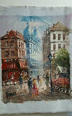 French oil painting on canvas, artist unknown  20.5x 25.5cm