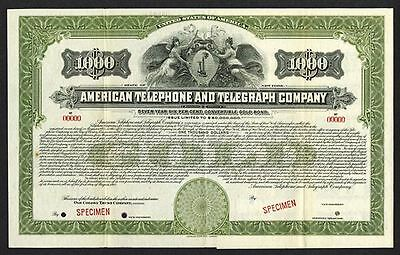 1918 $1000 AT&T SPECIMEN BOND PAYABLE in GOLD w ALL COUPS Angels Flank Old Phone