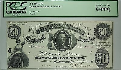 T-8 1861 $50 Confederate States of America PCGS 64 PPQ Very Choice New