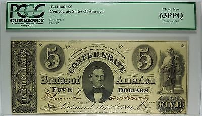 T-34 1861 $5 Confederate States of America PCGS 63 PPQ Choice New Cut Cancelled