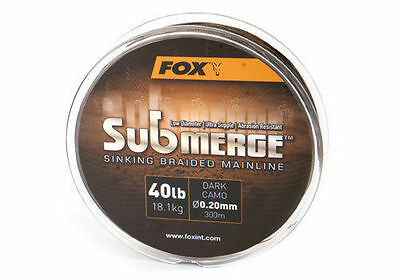 Fox Submerge Sinking Braided Mainline 300m & 600m Spools - All Breaking Strains