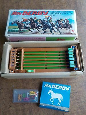 Vintage Shinsei Mini Derby Horse Race Game Battery Operated w/box Working Cond.