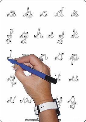 Educational Childrens A4 Alpha Cursive & Plain Whiteboard + Dry Wipe Pen
