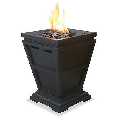 Home & Garden Uniflame LP Gas Outdoor Column Small Portable Fire Pit Black NEW
