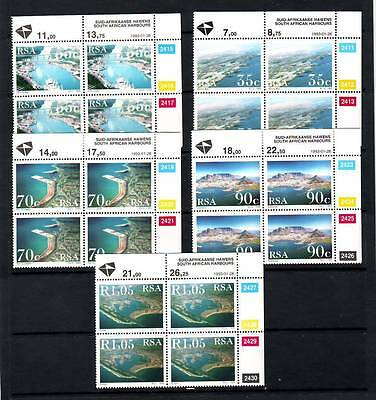 a111 - SOUTH AFRICA - SG772-776 MNH 1992 SOUTH AFRICAN HARBOURS - BLOCKS OF 4