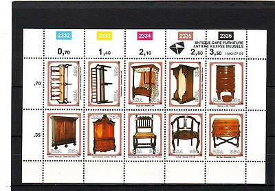 a111 - SOUTH AFRICA - SG750-759 MNH 1992 ANTIQUE CAPE FURNITURE - SHEETLET