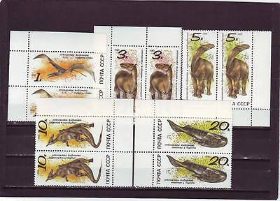 a112 - RUSSIA - SG6173-6177 MNH 1990 PREHISTORIC ANIMALS - PAIRS