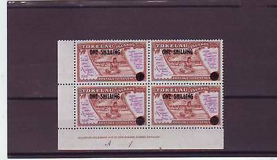 a117 - TOKELAU - SG5 MLH 1956 SURCH ONE SHILLING - BLOCK 4 W/IMPRINT & PLATE #