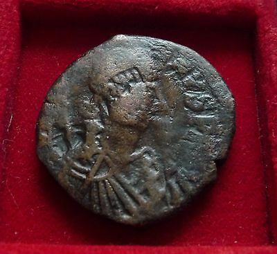 Justinian I Large AE follis 38mm, 527-565 Constantinople countermarked