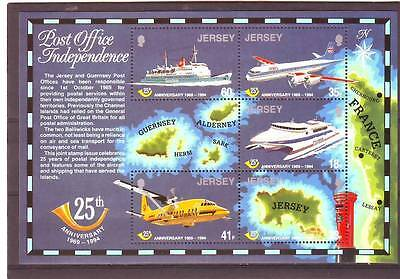 JERSEY - SGMS679 MNH 1994 25th ANNIV OF POSTAL ADMIN - PLANES/BOATS/MAP