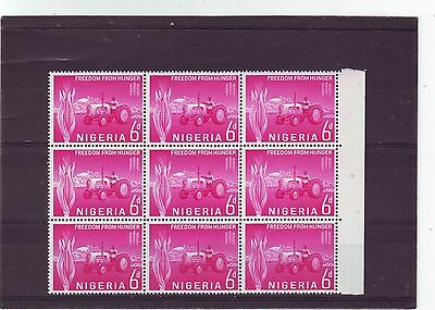 Nigeria - Sg130 Mnh 1963 Freedom From Hunger - Block Of 9