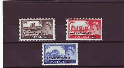 QATAR - SG13a-15a MNH 1957 UK HIGH VALUES OVPT W/SURCH - PLATE PRINTED
