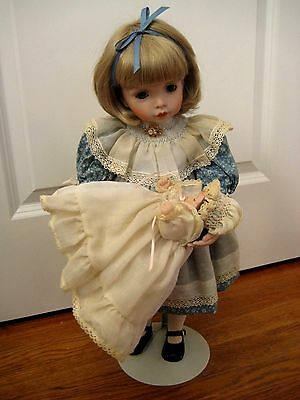 """Artist Porcelain Doll Joan Palmer 20"""" tall with baby doll 7"""""""