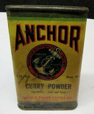 VINTAGE ANCHOR Curry Powder Cardboard SPICE CONTAINER  David Evans  ST LOUIS, MO