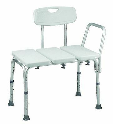 NEW!-Transfer Bench Shower Chair, by HealthSmart, W/BactiX and Adj. Legs, White
