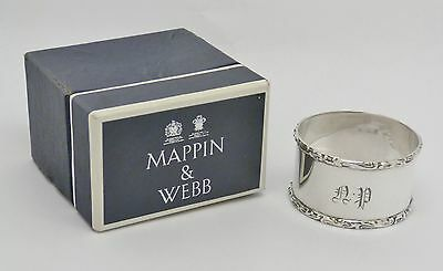 Gorgeous Boxed Mappin & Webb Antique Solid Sterling Silver Napkin Ring Hm 1902