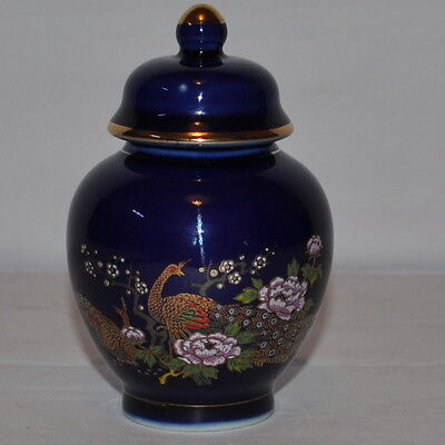 Vintage Blue Vase With Lid With A Peacock Design Height: 4""