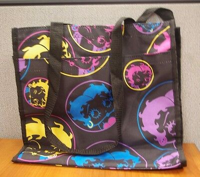 """12 1/2"""" x 13"""" Betty Boop Black Canvas Zippered Tote Bag with Matching Coin Purse"""
