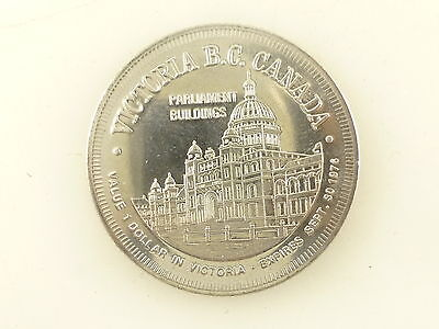Vintage 1976 Victoria BC City of Gardens 1 Dollar Coin Token