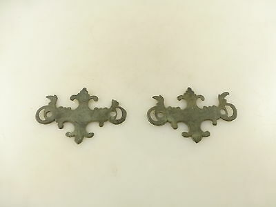 2 Vintage Detailed Ornate Metal Drawer Pull Back Plates Architectural Salvage