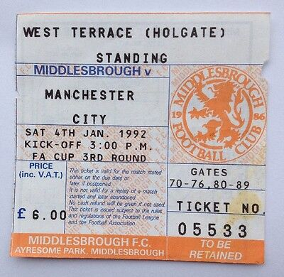 Football Ticket Stub - Middlesbrough v Manchester City January 4th 1992