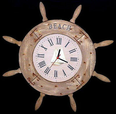 """NEW~Decorative 20"""" Weathered Ship's Wheel Wood Clock-Open Faced Wall Mount"""