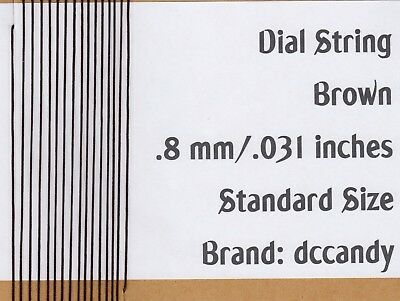 12 Ft Radio Dial Cord BRAIDED Nylon String .8mm BROWN for Vintage Tuner (.031)