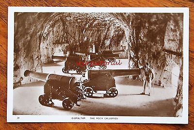 Early Photo Postcard Rp Gibraltar The Rock Galleries Interior Showing Guns