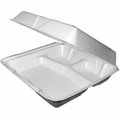 "9""x9""x3"" White Three Compartment Foam Container With Hinged Lid, 50-Piece Pack"
