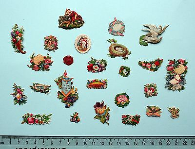 Collection 25 X Small Victorian Embossed Die Cut Scraps  Flowers Salutations