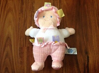 """Taggies * Baby Girl Doll * pink * Plush SOFT * 8"""" lovey security toy Mary Meyer"""