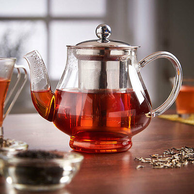 750ml Glass & Stainless Steel Infusion Tea Pot With Loose Leaf Infuser Teapot