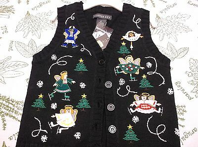 """NEW Copper Key """"Ugly"""" Christmas Skating Angels Black Holiday Vest Size 2T"""