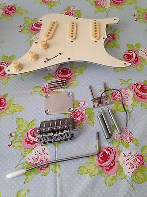 Reduced! Stratocaster Parts Project Guitar Pickups, Tremolo Arm & Neck Plate