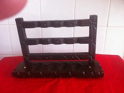 Wooden Pipe Rack Display Gate/Fence Design Dark Wood (Pipes NOT Included)