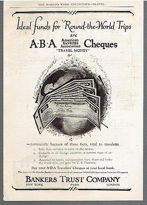 Vintage, Original,1926 - American Bankers Association Cheques Ad - Travel Money