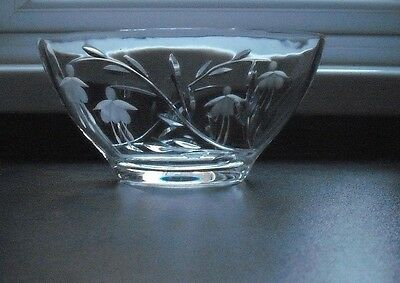 Stuart cut glass crystal cascade pattern oval bowl