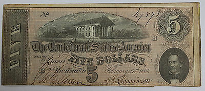 1864 Confederate States of America $5 Note - Civil War Currency