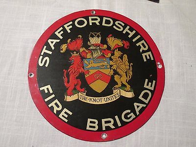 "1960s Original  ""STAFFORDSHIRE FIRE BRIGADE""  ALUMINIUM SIGN PLAQUE   Stafford"