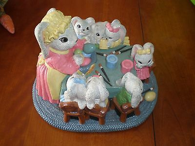 Large Chalk Plaster Ceramic Figurine of Bunny Rabbits Painting Easter Eggs