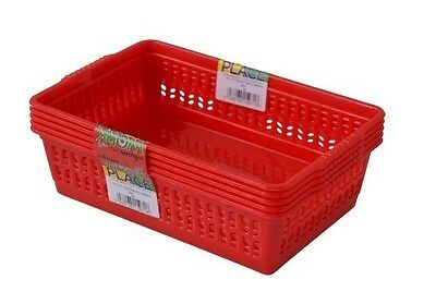 Set Of 5 Small Handy Baskets - Red