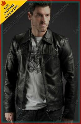 New Men's Stylish Motorcycle slim fit Genuine Lambskin Leather Biker Jacket MJ49