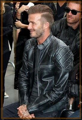 Lambskin Leather Jacket David Beckham Genuine Men Stylish Biker Motorcycle V02