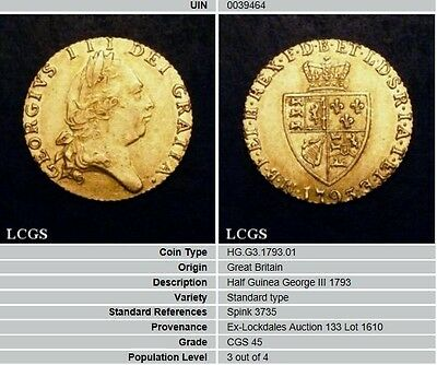 1793 GVF CGS 45 George III Half Guinea Coin, preceded the Gold Sovereign