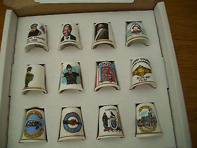 12  Collectable China Thimbles Famous People places events